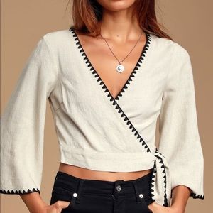 NWT Lulus Cropped Wrap Top